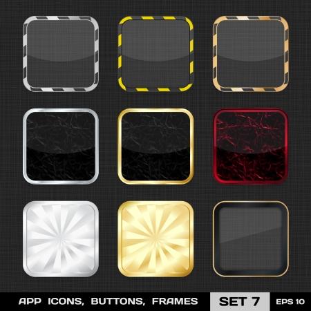 Set mit bunten App Icon Frames, Templates, Set Tasten 7
