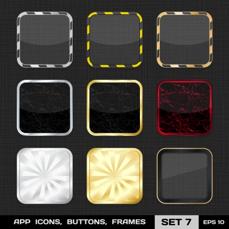 Set Of Colorful App Icon Frames, Templates, Buttons  Set 7    Vector