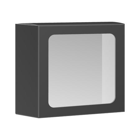 Blank schwarzes Produkt Paket Box mit Fenster. Isoliert auf weißem Hintergrund