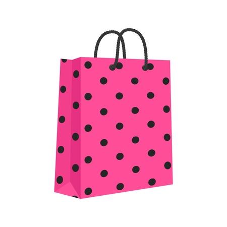 ロープで空白の紙のショッピング バッグを処理します。ピンク ・黒。