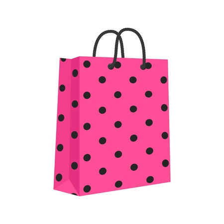 Blank Paper Shopping Bag With Rope Handles. Pink, Black. Vector