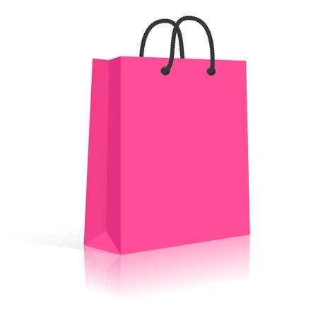 Blank Paper Shopping Bag avec poignées en corde. Rose, noir.