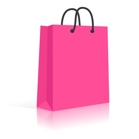 Blank Paper Shopping Bag With Rope Handles. Pink, Black. Stock fotó - 18132761