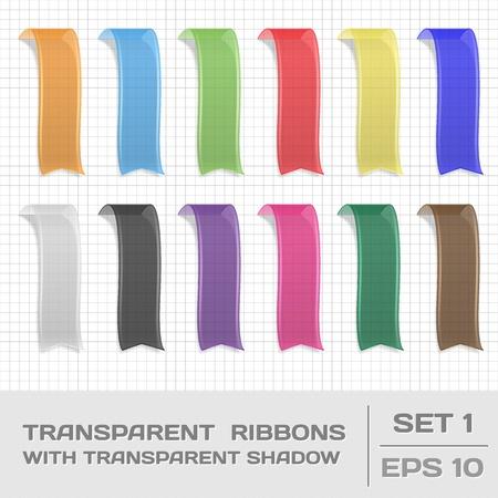 Transparent Ribbons Set 1. Tags, Bookmarks. Vector