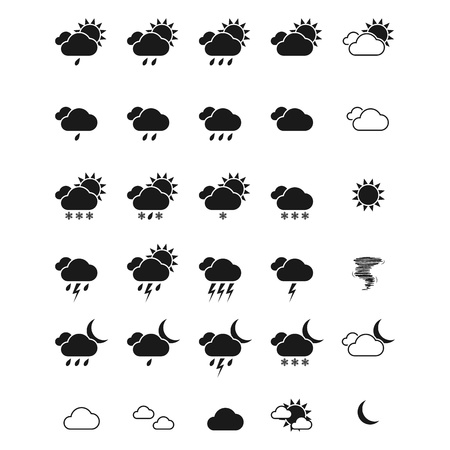 day forecast: Weather icon set. Illustration
