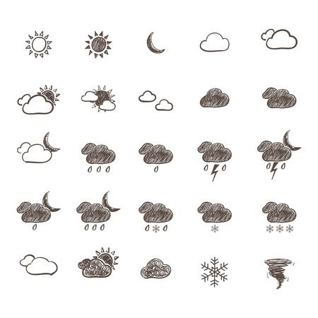 sol y luna: Dibujado a mano Weather Icon Set. Vectores