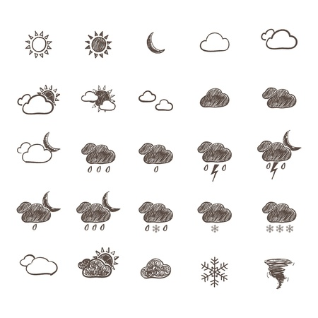 Hand Drawn Weather Icon Set.   Vector