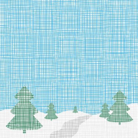fur tree ornament: Christmas card template    Background  Linen, folk, retro