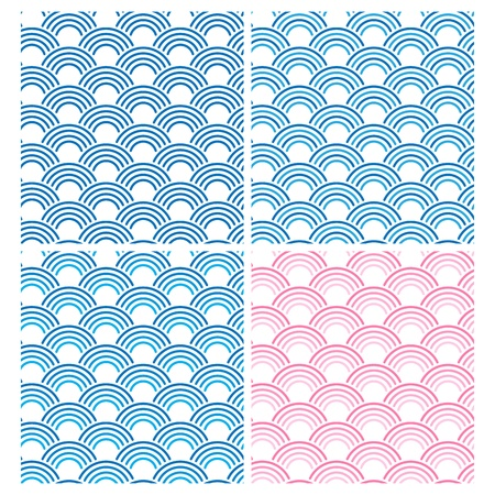 Japanese Seamless Pattern Set  Vector