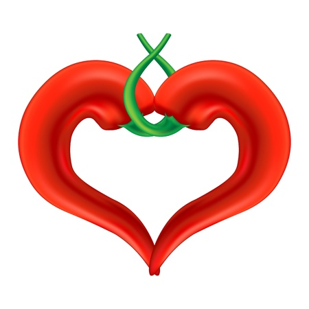 Chili Pepper Heart  Passion and Love Symbol   , isolated on white background  Illustration