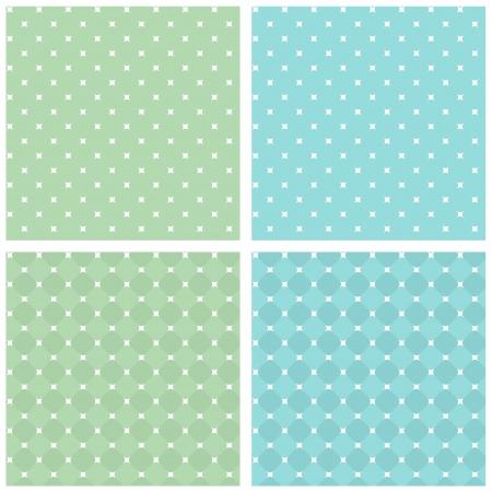 Set of seamless retro texture. White, green, blue. Vintage background