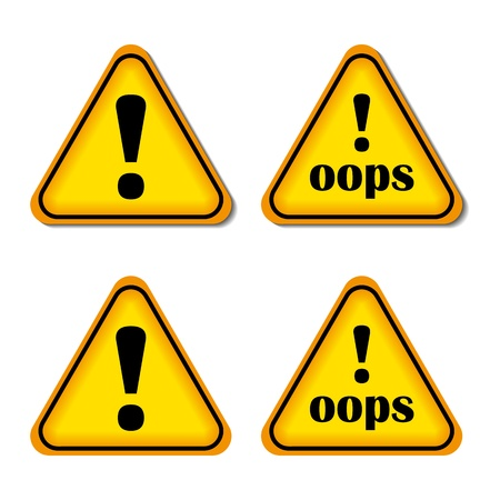 oups: Point d'exclamation, signe de danger, Oops isol�, Illustration Vecteur