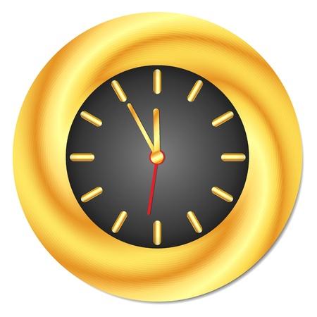 midday: Golden Clock  Midnight, Midday  Isolated, Vector Illustration Illustration