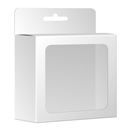 흰색 배경에 고립 된 창 벡터 빈 흰색 제품 포장 상자, 일러스트