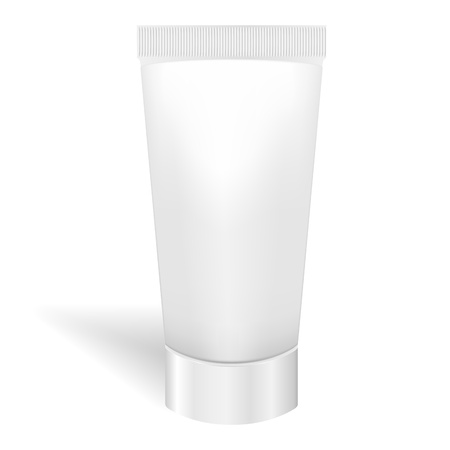 make up products: Blank white tube for cream or gel  Packaging for tooth paste, cosmetics, ointment  Vector  Product package template