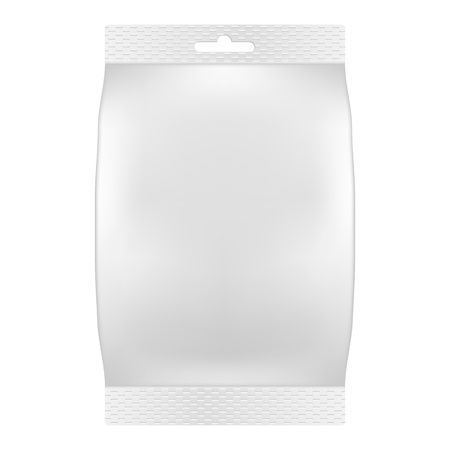 Blank white bag packaging for wipes, tissues or food  Vector  Product package template Ilustração