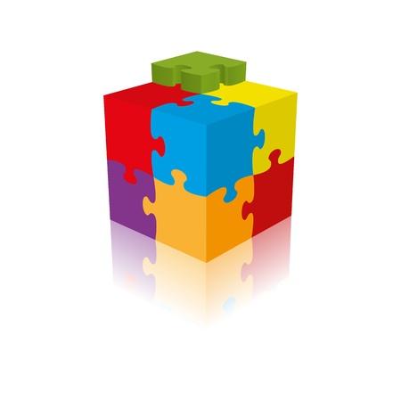 Cube Puzzle-, Vektor-, 3D mit einer Reflexion