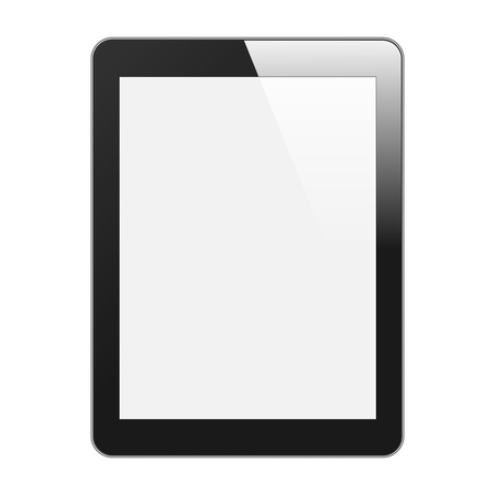Realistic Tablet PC With Blank Screen  Vertical, Black  Isolated On White Background  Vector Illustration Vector