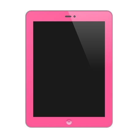 Realistic Concept Of Tablet PC With Blank Screen  Vertical, Pink  Isolated On White Background  Vector Illustration Vector