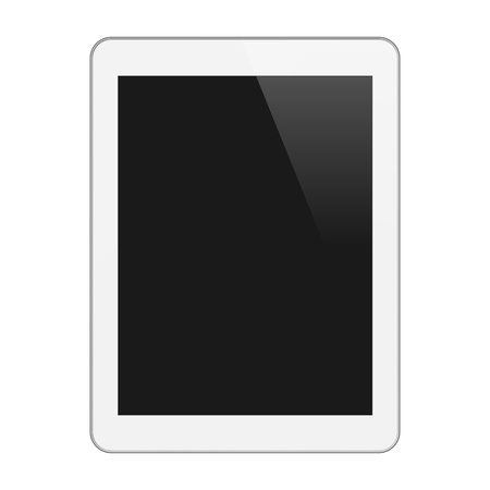 Realistic Tablet PC With Blank Screen  Vertical, White  Isolated On White Background  Vector Illustration Stock Vector - 18633409