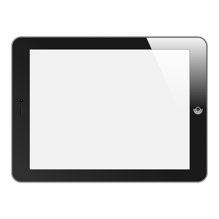 Realistic Tablet PC with blank screen  Horizontal, black  Isolated on white background  Vector EPS 10