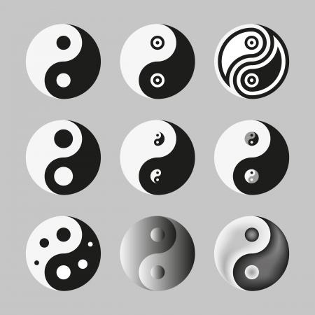 yin y yang: Yin Yang, símbolo del equilibrio y la armonía Ilustración Vector Set