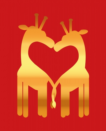 Love heart, giraffe couple Vector