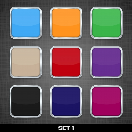 Set Of Colorful App Icon Templates, Buttons, Backgrounds  Set 1  Vector Stock Vector - 18633530
