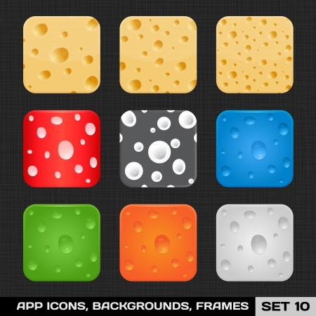 Set Of Colorful App Icon Frames, Templates, Buttons  Set 10  Vector Stock Vector - 18633610
