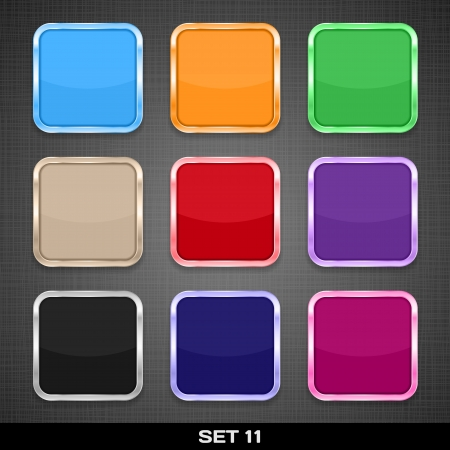 Set Of Colorful App Icon Templates, Buttons, Backgrounds  Set 11  Vector Stock Vector - 18633529