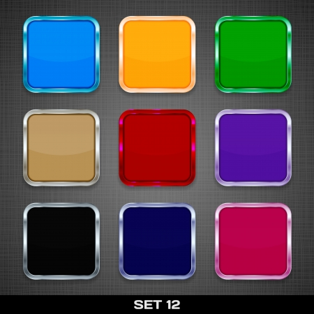 Set Of Colorful App Icon Templates, Buttons, Backgrounds  Set 12  Vector
