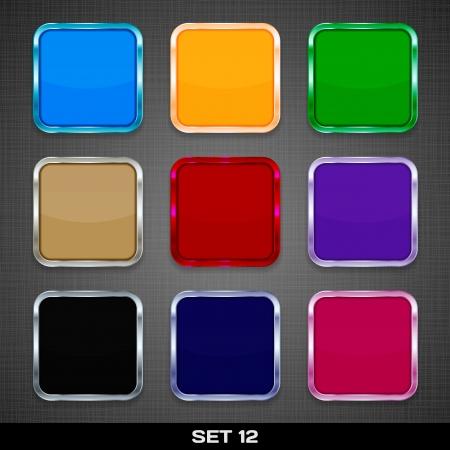 Set Van Kleurrijke App Pictogram sjablonen, knoppen, achtergronden Set 12 Vector Stock Illustratie