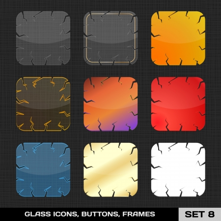 Set Of Colorful App Icon Frames, Templates, Buttons  Set 8  Vector Illustration