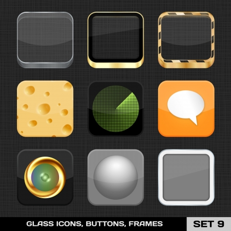 Set Of Colorful App Icon Frames, Templates, Buttons  Set 9  Vector Stock Vector - 18633532
