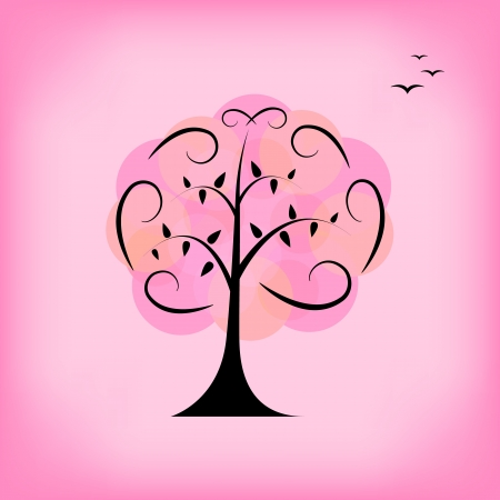 Colorful vector tree  Background, card, template