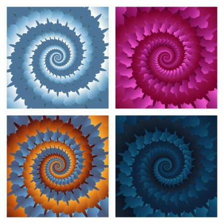 Abstract spiral background set  Vector eps10