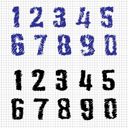 Hand-drawn Numbers  Doodles  Set 1  Vector Sketch Stock Vector - 18633497