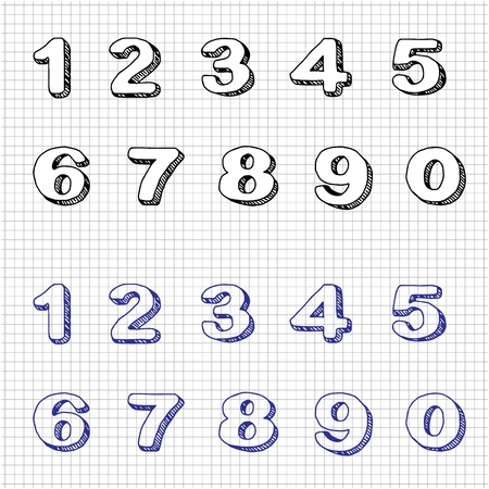 cartoon number: Hand-drawn Numbers  Doodles  Set 2  Vector Sketch