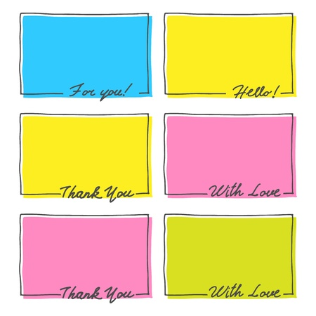 Hand Drawn Frame Set  Thank You, With Love, Hello, For You Text  Vector