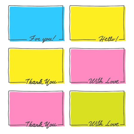 손으로 그린 프레임 세트는 당신의 텍스트 벡터, 안녕, 사랑, 감사합니다