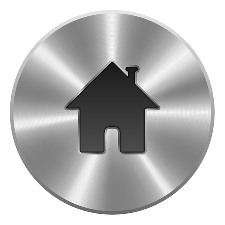 Home Button, Icon  Metal, Round  Isolated On White Background  Vector Stock Vector - 18633688