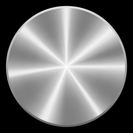 Realistic brushed metal button  Vector eps10  Isolated  イラスト・ベクター素材