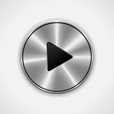 Realistic Play metal button  Vector eps10  Isolated