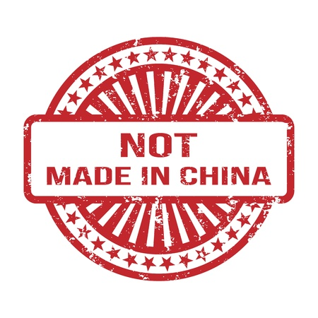 manufactured: Not Made In China  Grunge Rubber Stamp  For Any Background  Vector illustration Illustration