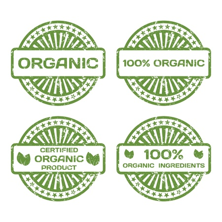 Grunge Rubber Stamp Set  Organic Product, Certified  Vector Illustration Vector