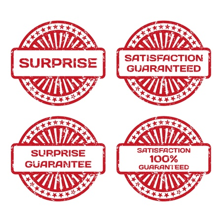Grunge Rubber Stamp Set  Satisfaction Guarantee, Surprise  Vector Illustration Stock Vector - 18633782