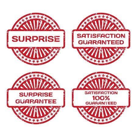 Grunge Rubber Stamp Set  Satisfaction Guarantee, Surprise  Vector Illustration Stock Vector - 18633782