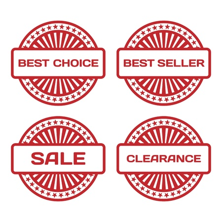 Red Rubber Stamp Set  Sale, best seller, best choice, clearance text   Vector