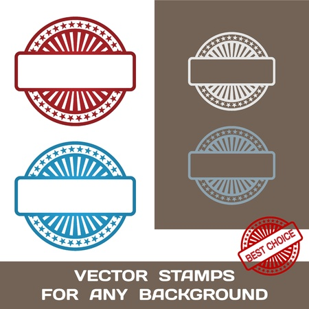 post stamp: Blank Rubber Stamp Set  Template  For Any Background  Vector Illustration Illustration