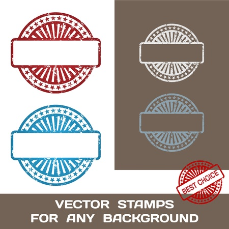 Grunge Blank Rubber Stamp Set  Template  For Any Background  Vector Illustration  イラスト・ベクター素材